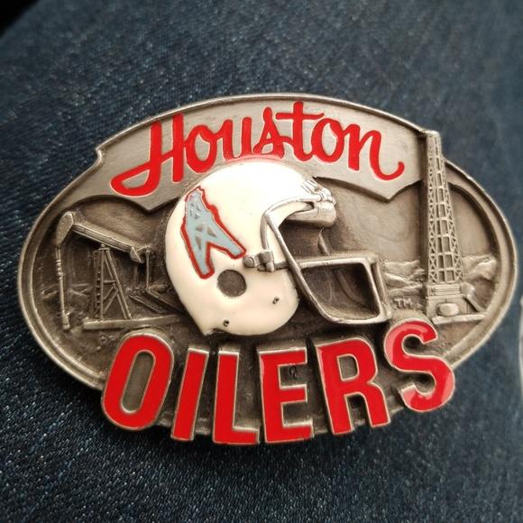 los angeles a7e59 dab59 Vintage 1987 NFL Pewter Belt Buckle Houston Oilers
